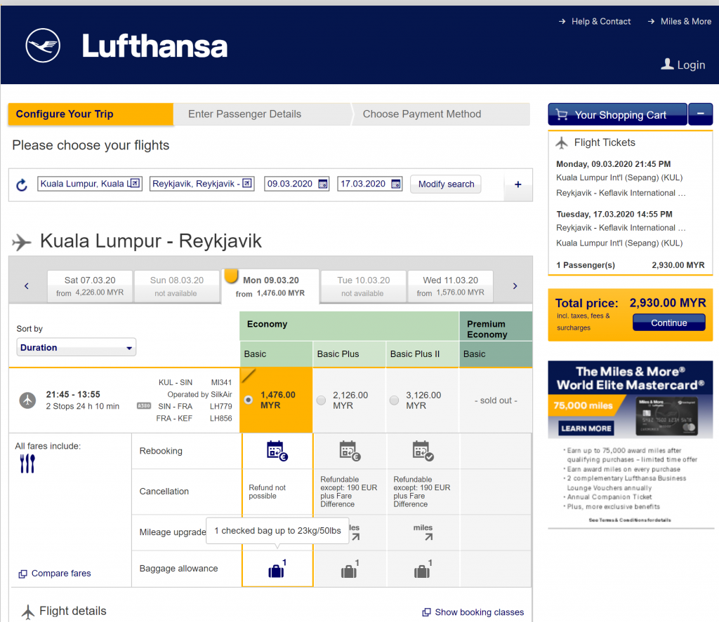 Lufthansa Kuala Lumpur To Iceland Round Trip Rm2 930 Include 23kg Baggage Exp 15 Oct 2019 Iflight My